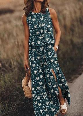 Round Neck Sleeveless Long Dress