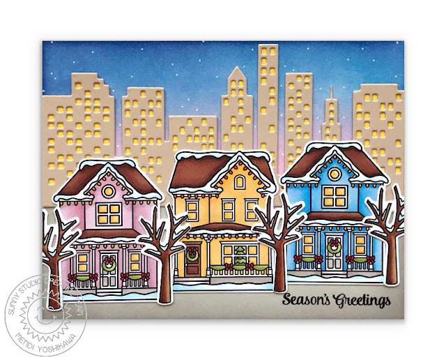 Sunny Studio Blog: Season's Greetings San Francisco Alamo Square Park At Christmas Handmade Holiday Card (using Victorian Christmas, Christmas Home Stamps & Cityscape Border Die)