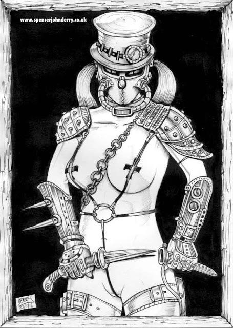 Steampunk Assassin VI • Hand Drawn Original Steampunk Fetish Art Ink drawing artist