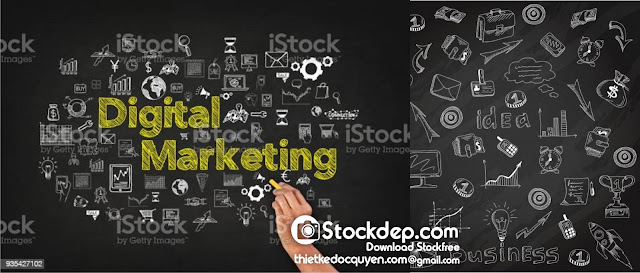 Digital Marketing Word On Blackboard free stock