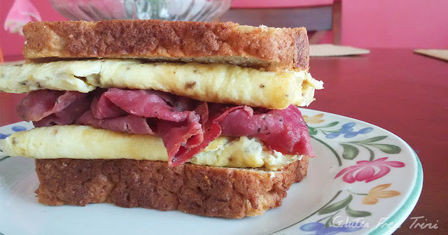 Gluten free and dairy free millet and flaxseed bread with pastrami and egg. Gluten Free Trini