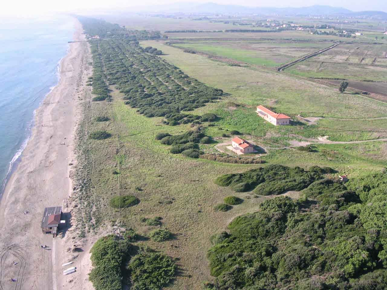 Areal view of the Duna Grande property near Southern Tuscany
