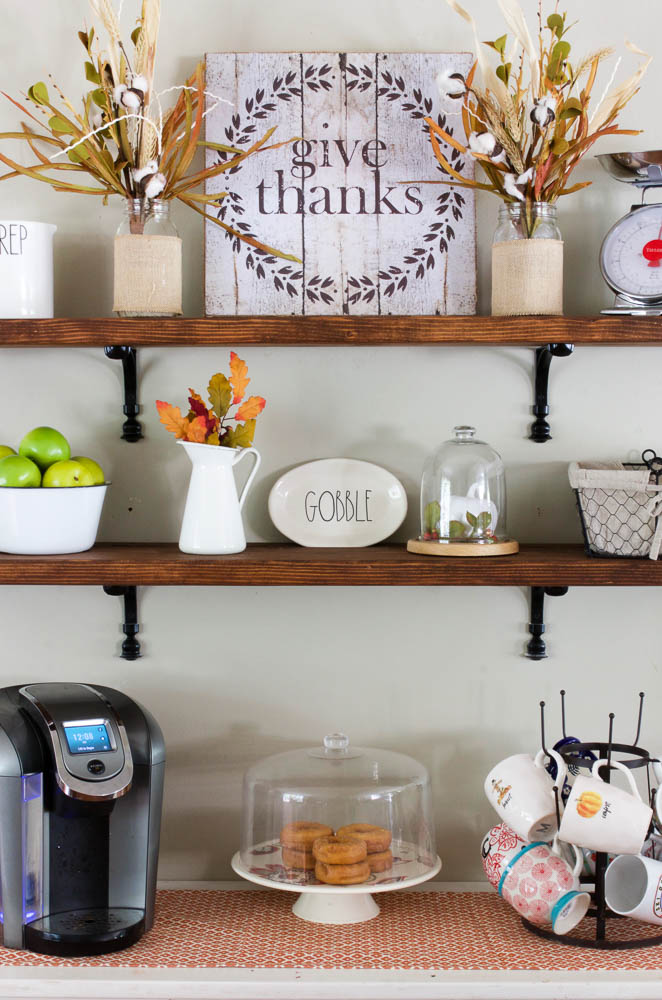 DIY wooden dining room shelves with fall decor