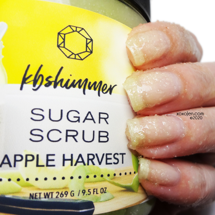 xoxoJen's swatch of KBShimmer Apple Harvest sugar scrub