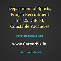 Department of Sports, Punjab Recruitment for 125 DSP, SI, Constable Vacancies