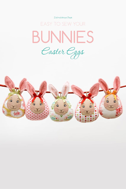 Adorable Easter eggs bunnies for sewing