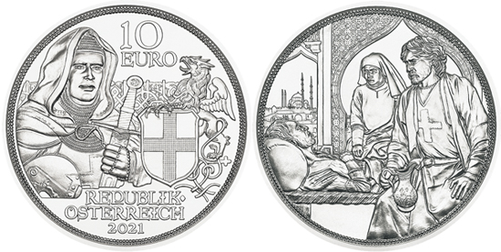 Austria 10 euro 2021 silver - Knights' Tales - Brotherhood