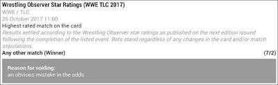 WWE TLC 2017 Voided Betting Slip