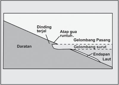 Erosi lebih lanjut oleh gelombang menyebabkan runtuhnya atap gua ke laut dan terbentuklah cliff (dinding terjal).