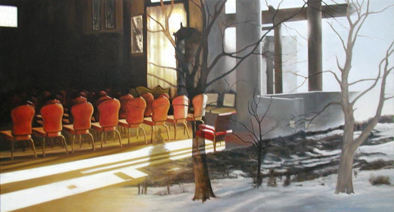 10-Red-Interior-Jennifer-Presant-Here-and-There-Surreal-Oil-Paintings-www-designstack-co