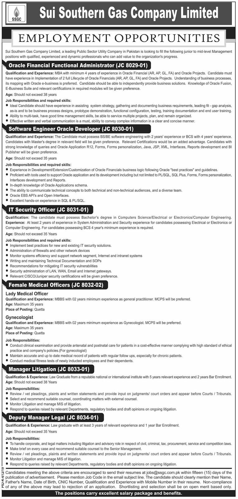Advertisement for Sui Southern Gas Company Limited Jobs