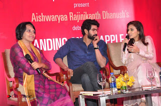 Aiswarya Rajinikanth Dhanush Standing on an Apple Box Launch Stills in Hyderabad  0069.jpg