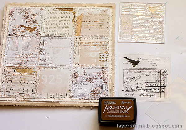 Layers of ink - Wedding Card Tutorial by Anna-Karin Evaldsson. Stamp the background.