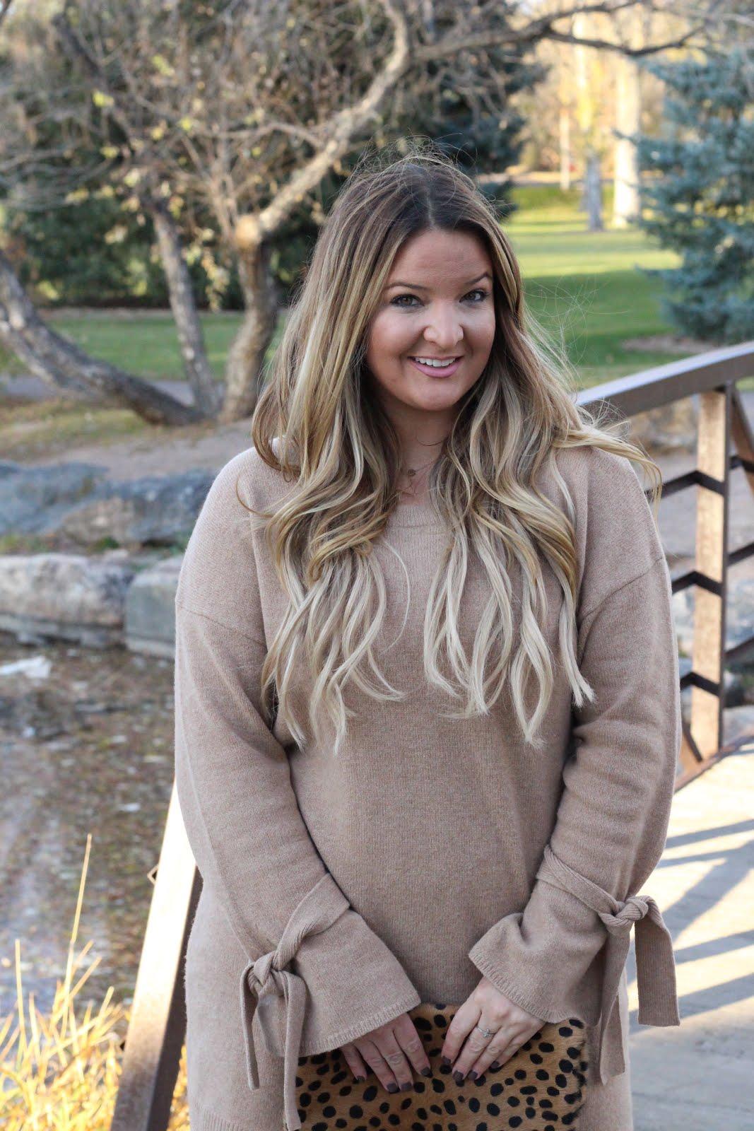 Tan sweater dress and Brown OTK boots by Denver fashion blogger Delayna Denaye