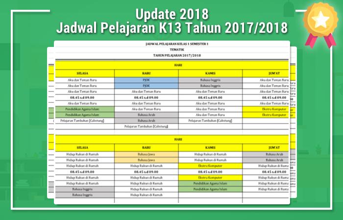 Jadwal Pelajaran K13 Tahun 2017/2018
