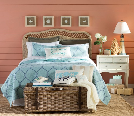 Beachy Bedroom with Touches of Christmas