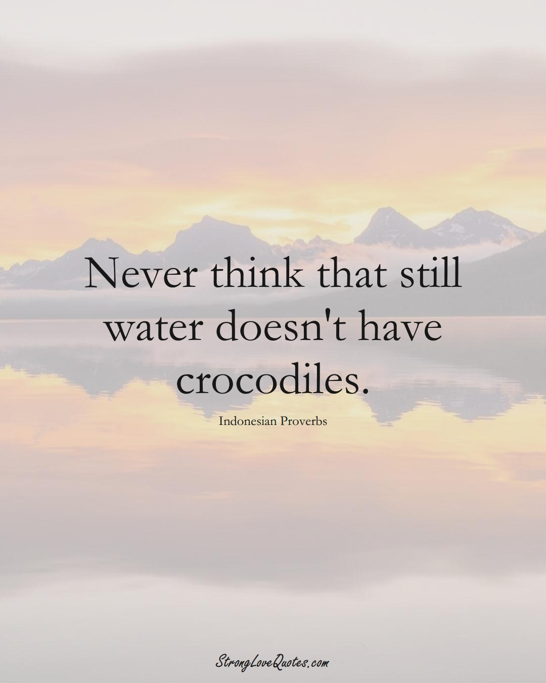 Never think that still water doesn't have crocodiles. (Indonesian Sayings);  #AsianSayings