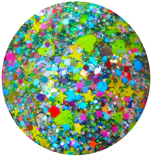 Christmas glitter topper nail polishes. Custom handmade indie lacquer with glitter shapes like yellow mini stars, neon green hearts, silver dots and more. Chritmas nails.