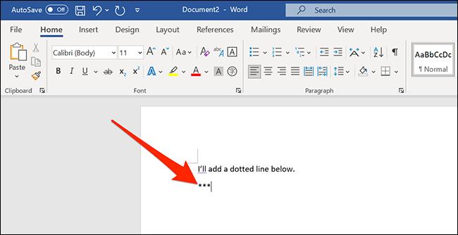 أضف ثلاث علامات نجمية في مستند جديد في نافذة Word.