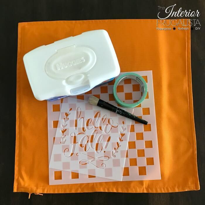Checkered Fall Pillow Stencil Supplies