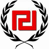 symbol  greckiego neonazizmu czerwony meander otoczony gałązkami oliwnymi