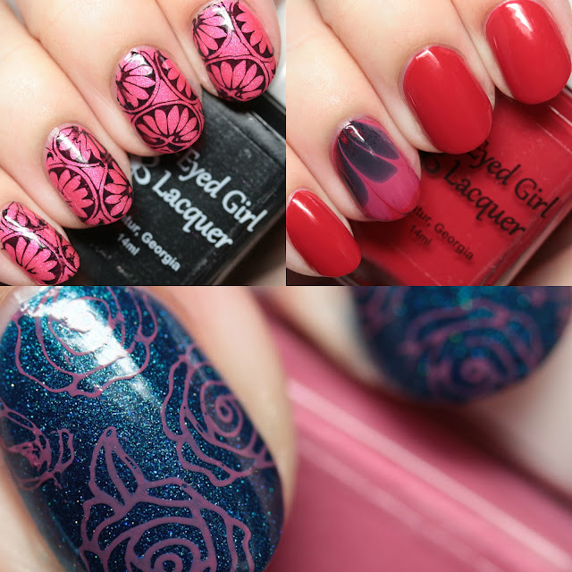 Blue-Eyed Girl Lacquer We Saw the Stars Collection Stamping and Watermarbling Nail Art