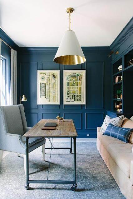 Blue walls with blue trim