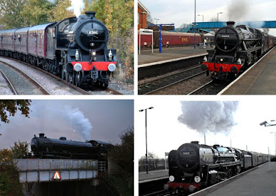 PICTURED: A montage showing some previous steam-hauled RTC tours at Brigg and Barnetby stations, featuring a preserved B1 loco (two views), a Black Five and Oliver Cromwell. The latter survived until the end of mainline steam on British Rail in August 1968.