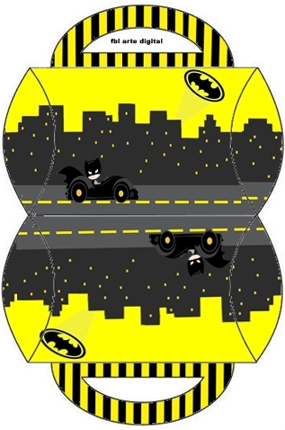Batman in Black and Yellow, Free Printable Pillow Box,