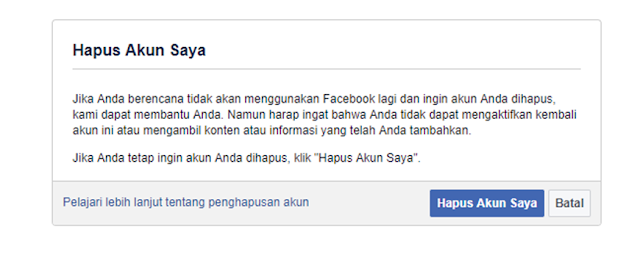 Hapus Akun Facebook Saya