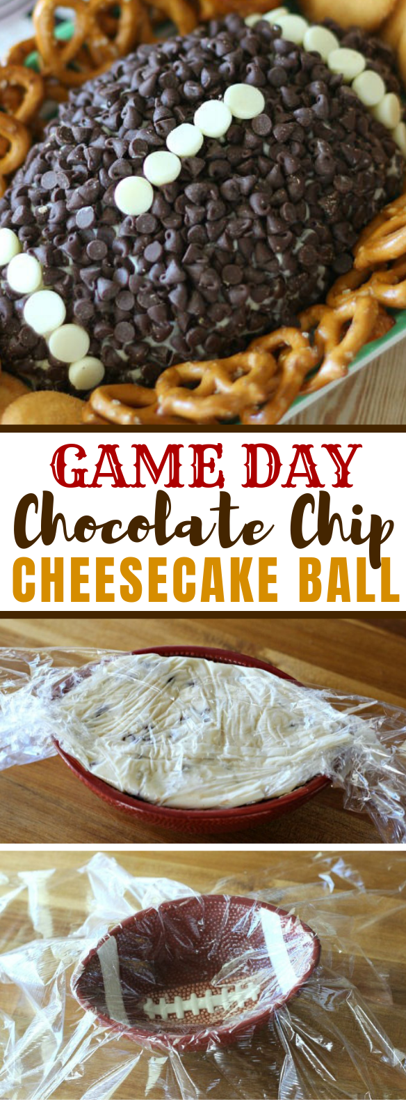 GAME DAY CHOCOLATE CHIP CHEESECAKE BALL #desserts #appetizers