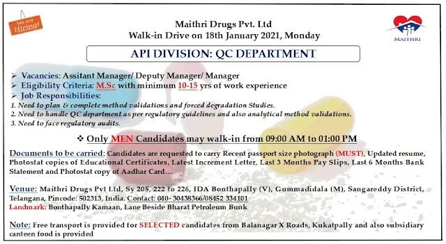 Maithri Drugs | Walk-in for Senior position in QC on 18th Jan 2021