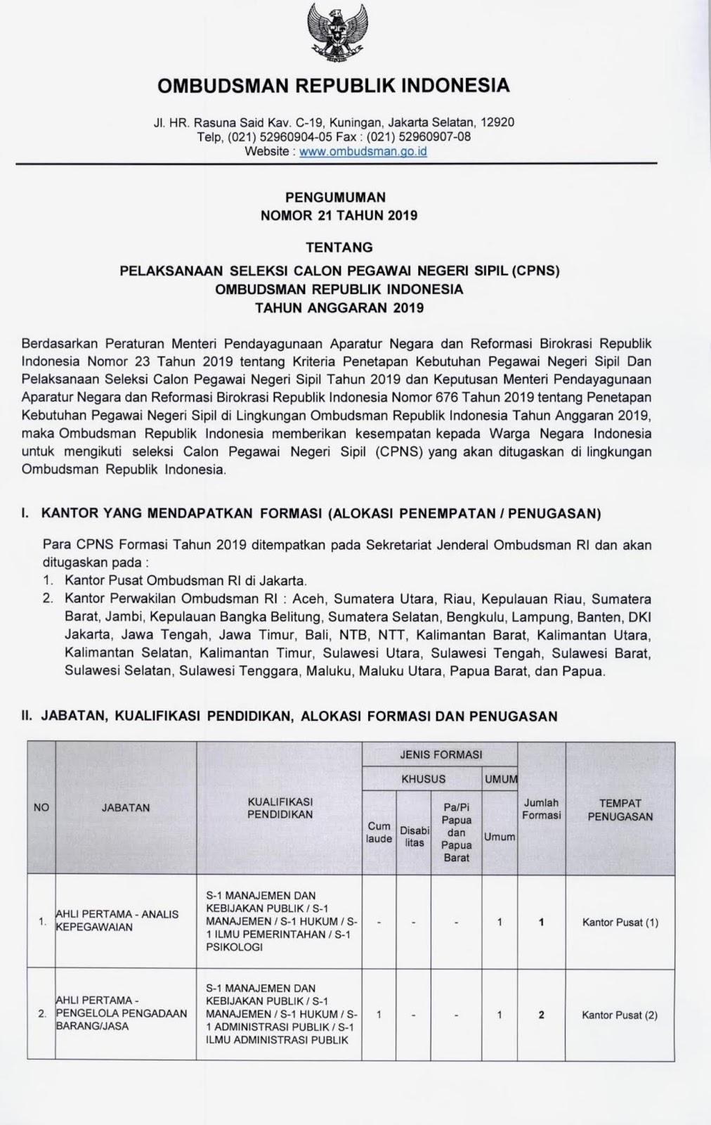 Penerimaan CPNS OMBUDSMAN Republik Indonesia Tahun Anggaran 2019 [91 Formasi]