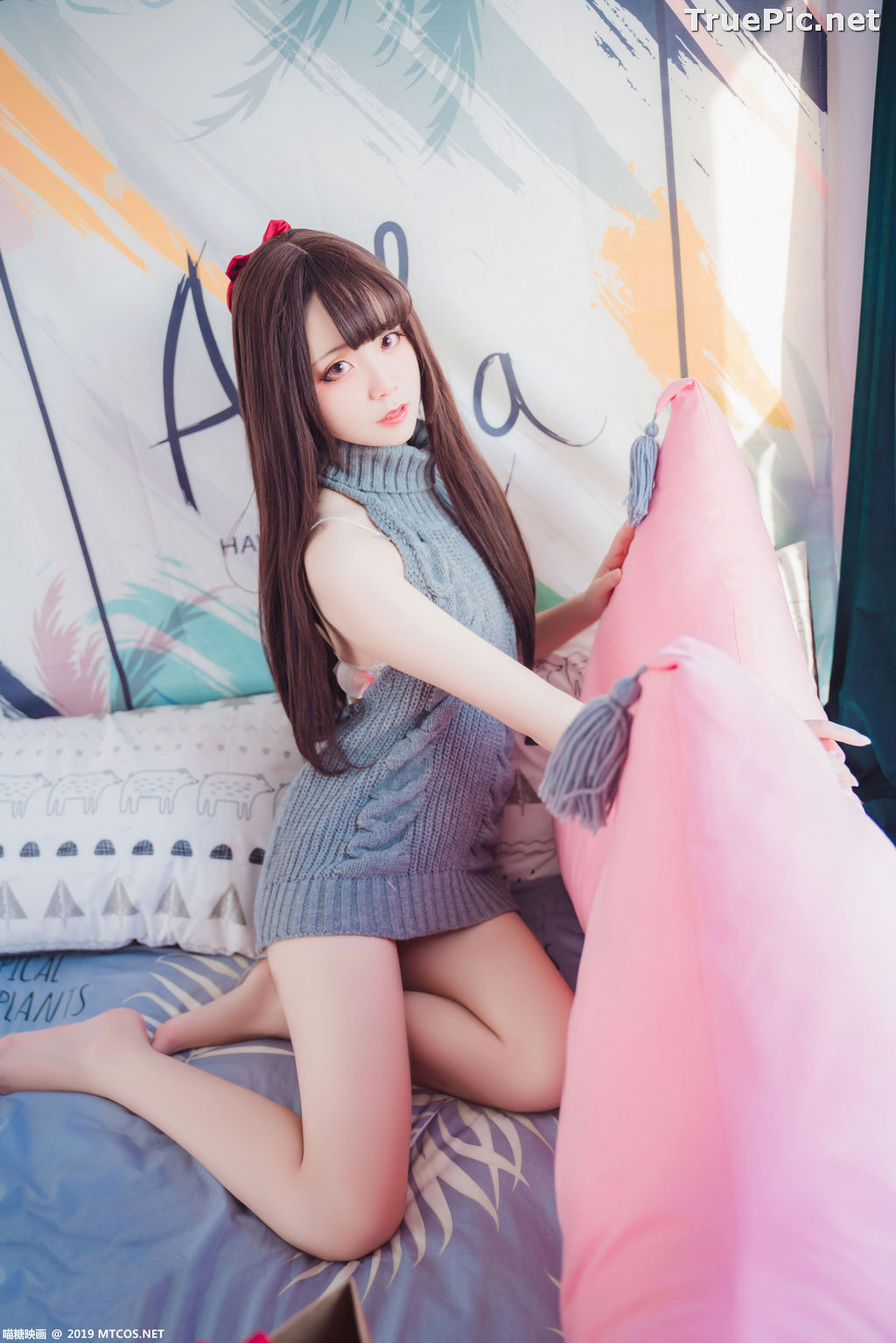 Image [MTCos] 喵糖映画 Vol.030 – Chinese Cute Model – Open Back Sweater - TruePic.net - Picture-8
