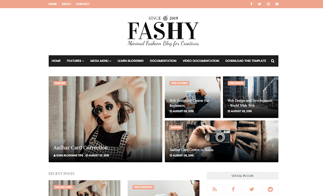 Fashy Blogger Template adalah tema majalah mode yang menakjubkan dan bergaya. Template Blog Blogger Mode ini hadir dengan Desain yang sudah jadi dan jika Anda tidak ingin mendesain sendiri, Anda dapat menyewa pengembang situs web di mumbai. Ini memiliki desain interaktif dan konsep yang ramah pengguna.