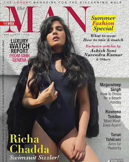 Richa Chadda in black swimsuit on the cover page of Summer issue of The Man Magazine April 2017
