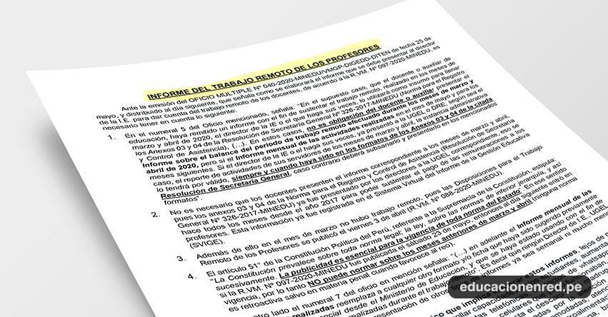 ANÁLISIS: Informe del Trabajo Remoto de los Profesores (Fernando Gamarra Morales)