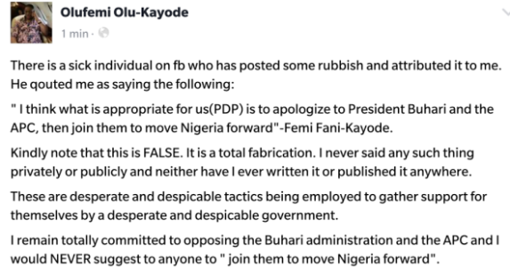 """I Remain Committed To Opposing The Buhari Administration And APC"" - Fani-Kayode"