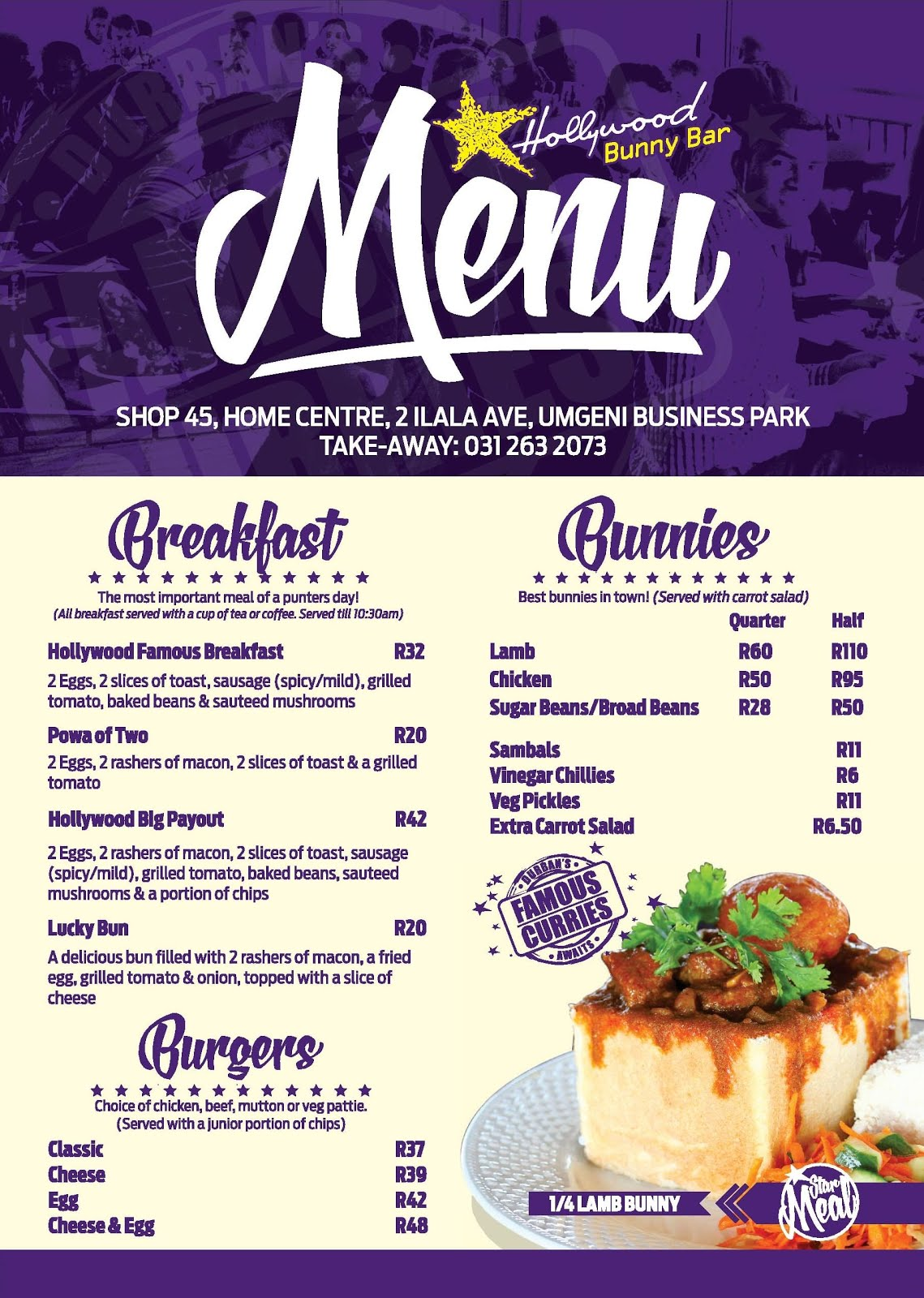 Hollywood Bunny Bar Menu Page 1 - Breakfast - Bunny Chows - Bunnies - Burgers