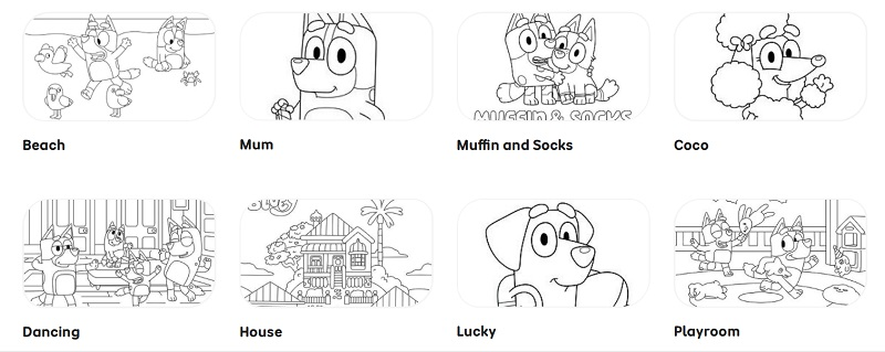 free bluey colouring in pages
