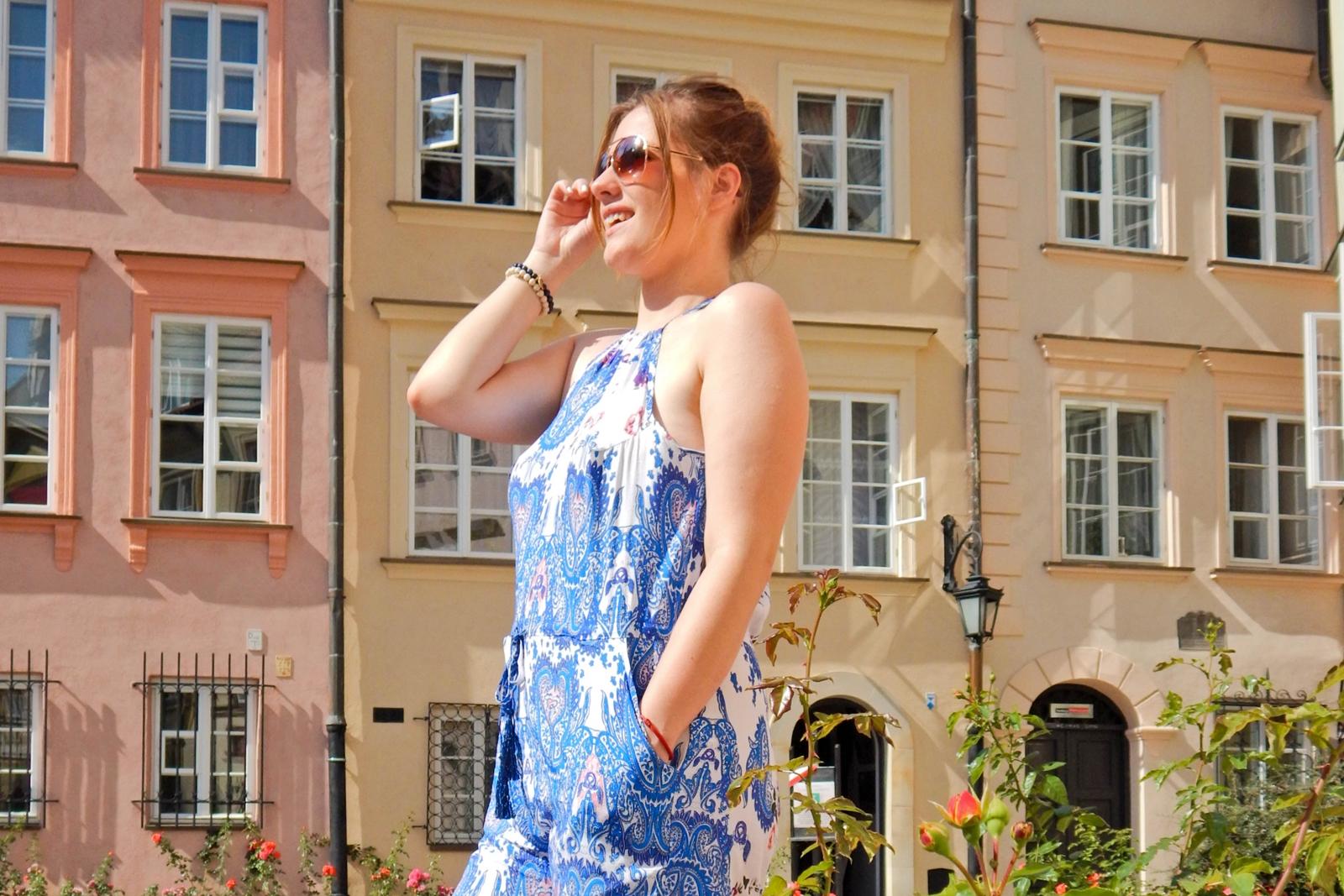 sammydress kombinezon w niebieskie wzory zakupy w chinskich sklepach warszawa sesja w warszawie melodylaniella lookbook street style style look fashion