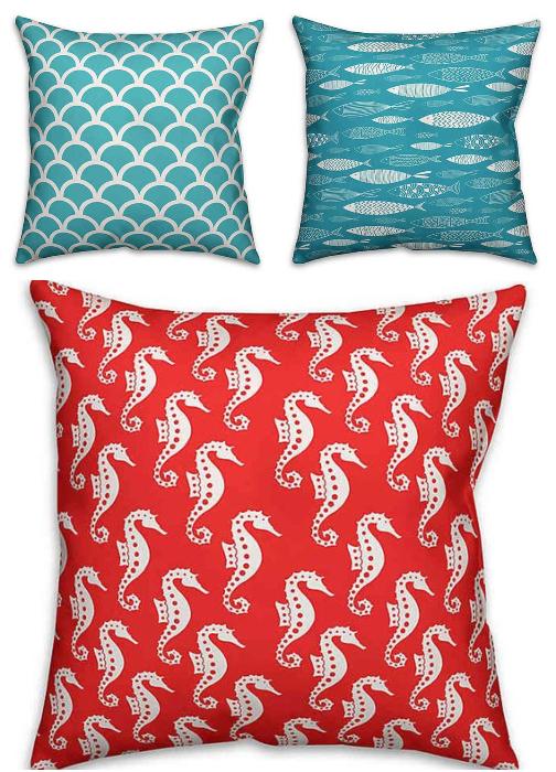Outdoor Coastal Sea Life Pillows Blue Red