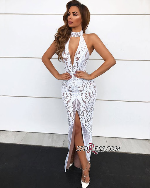 Sexy Lace Halter Prom Dresses   2018 Long Slit Evening Gowns On Sale
