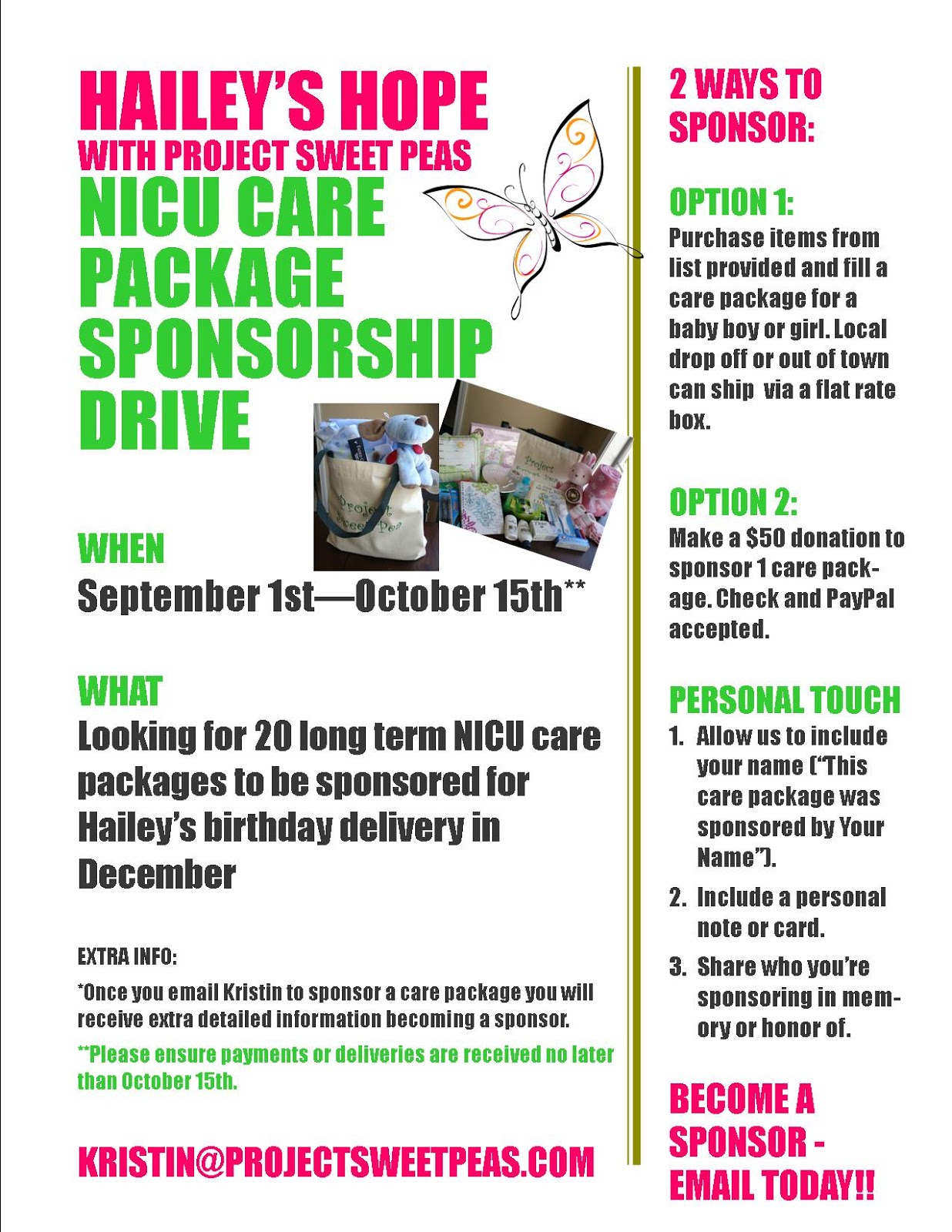 Hailey S Hope Nicu Care Package Sponsorship Fundraiser