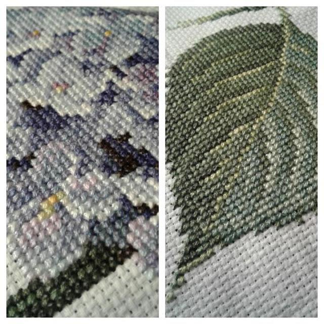 Hydrangea Cross Stitch Up Close