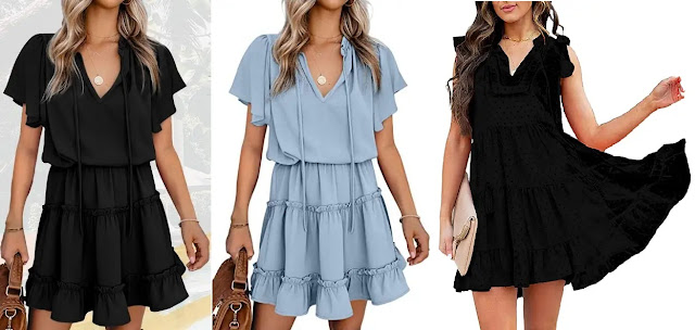 BTFBM Casual Summer Drawstring Dresses