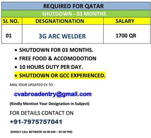 3G ARC WELDER JOBS IN QATAR FOR 3 MONTHS SHUTDOWN