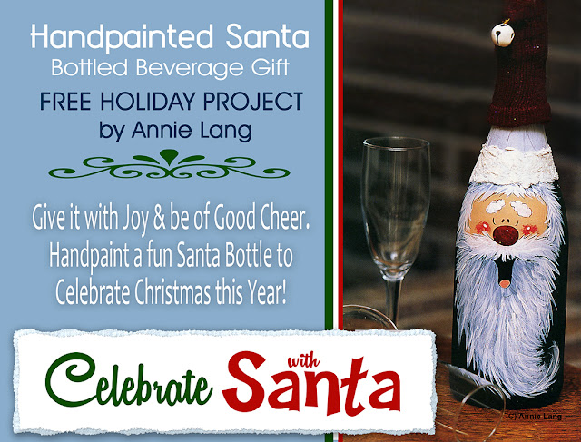 FREE SANTA painted bottle project by Annie Lang! Download it for free from Annie Things Possible at https://www.anniethingspossible.com/free-projects