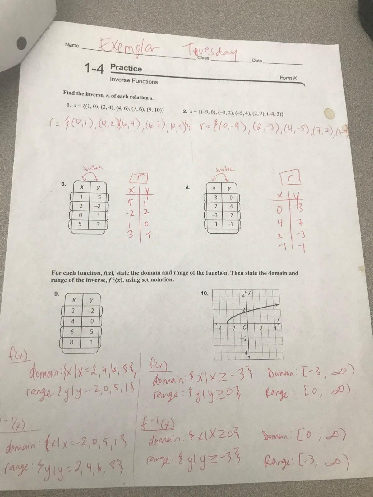 Algebra 2 Inverse Functions Worksheet Answers