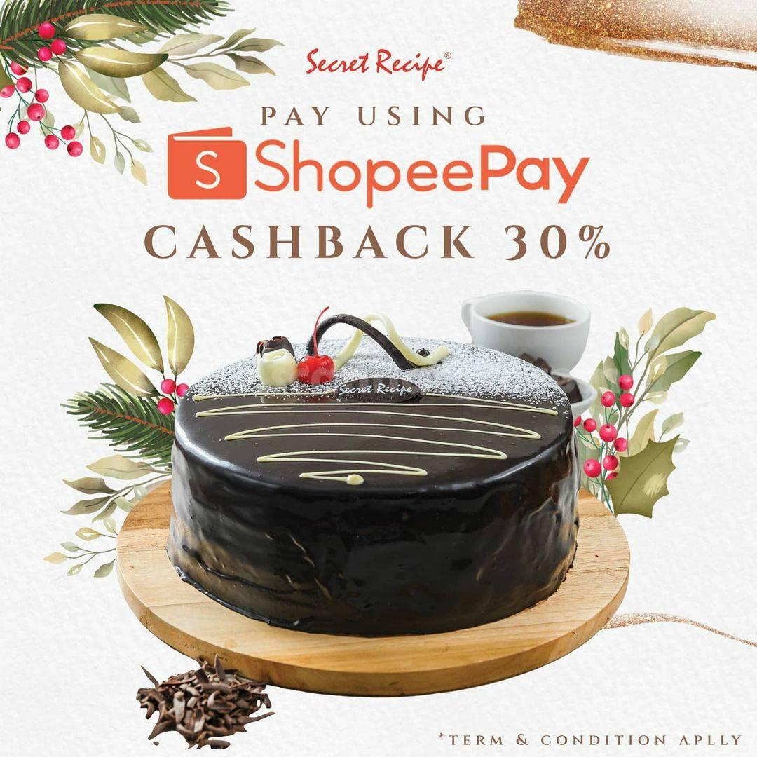 Promo Secret Recipe Cashback 30% bayar pakai ShopeePay